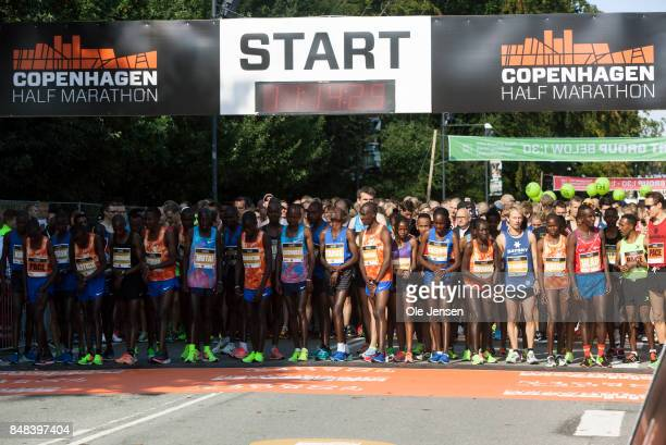 Runners starts out on Copenhagen Half Marathon begins on September 17 2017 in Copenhagen Denmark The race was called off minutes after the first...