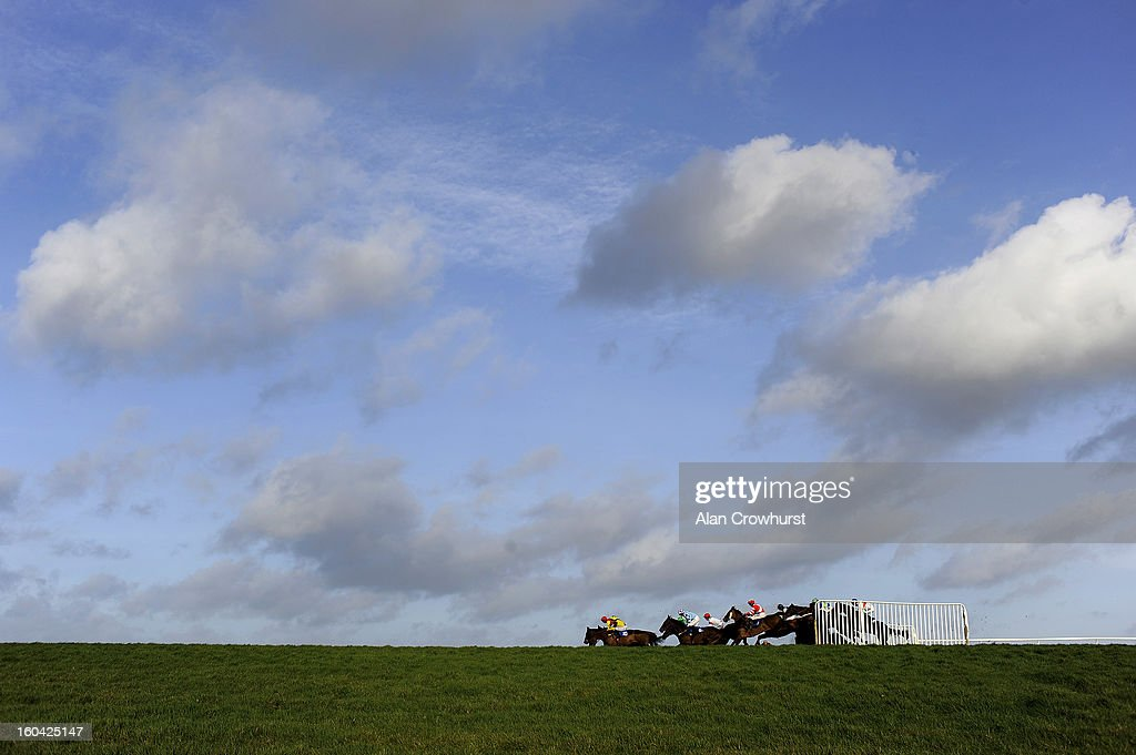Runners take a fence down the back straight in The Carolyn Brown Celebration Veterans' Handicap Steeple Chase at Wincanton racecourse on January 31, 2013 in Wincanton, England.