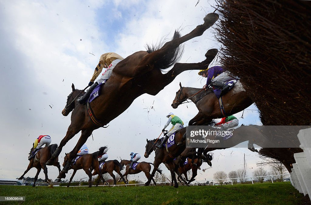 Runners take a fence in The RSA Steeple Chase during Ladies Day at Cheltenham Racecourse on March 13, 2013 in Cheltenham, England.