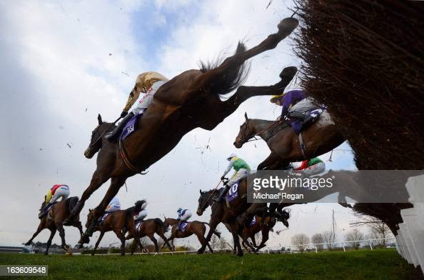 Runners take a fence in The RSA Steeple Chase during Ladies Day at Cheltenham Racecourse on March 13 2013 in Cheltenham England
