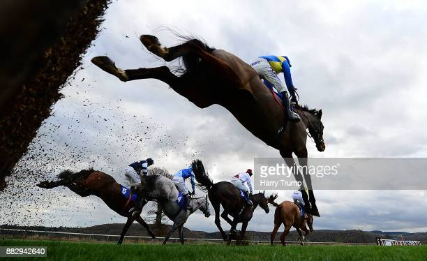 Runners take a flight during the Bet Totequadpot At Betfredcom Chase at Taunton Racecourse on November 30 2017 in Taunton England