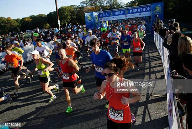 Runners take off at the start of the BAA half marathon in Boston Oct 13 2013