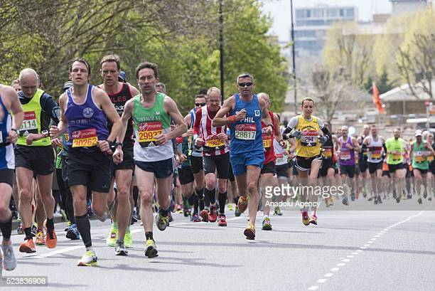Runners take part in the 2016 London Marathon in London United Kingdom on April 24 2016