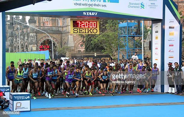 Runners take part in the 2016 Mumbai Marathon in Mumbai on January 17 2016 Thousands of people turned out on a cool morning to take part in the...