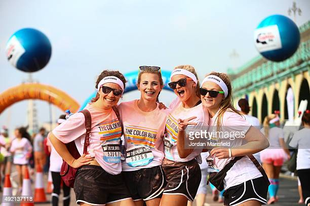 Runners take part in The Color Run on October 10 2015 in Brighton England The Color Run took place at Brighton's Madeira Drive on 10th October 2015...