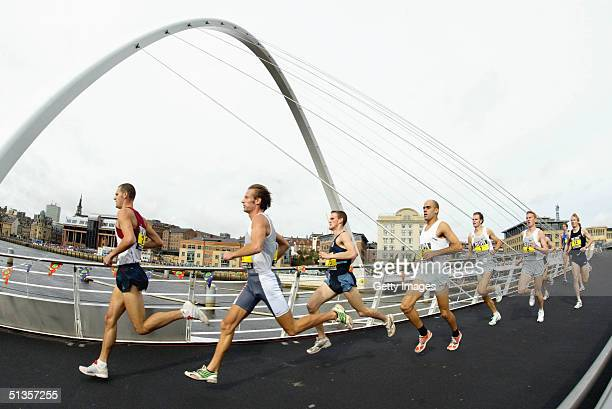 Runners take part in The Great North Run September 25 2004 in Newcastle England