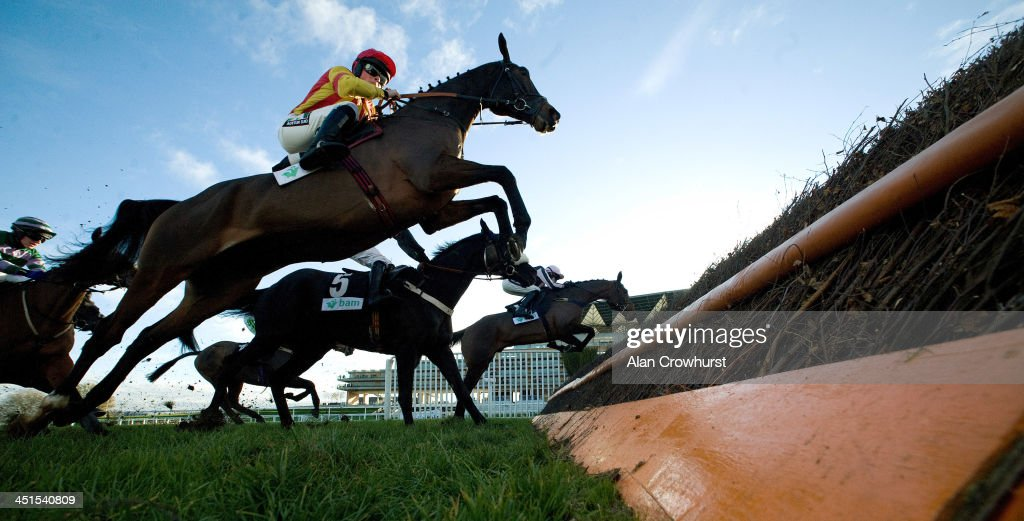 Runners take the fence in front of the grandstands in The Bam Construct UK Novices' Limited Handicap Steeple Chase from Polisky (R) at Ascot racecourse on November 23, 2013 in Ascot, England.