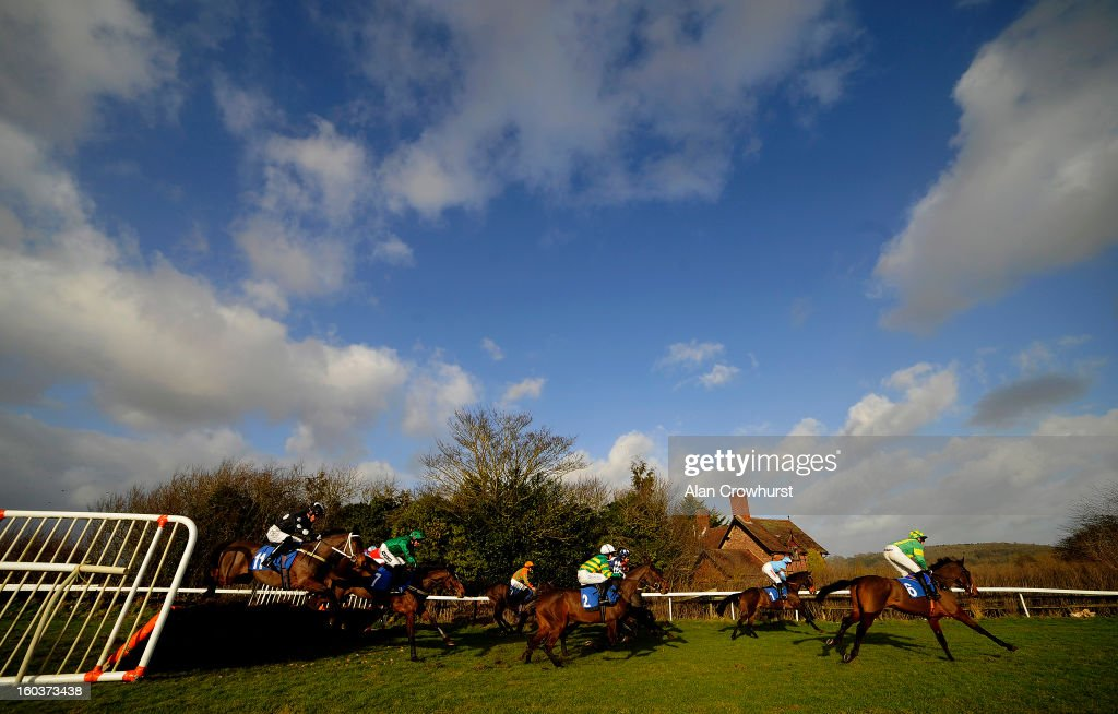 Runners take the first flight of hurdles in The Bet With The Ludlow On Course Bookmakers Mares' Handicap Hurdle Race at Ludlow racecourse on January 30, 2013 in Ludlow, England.