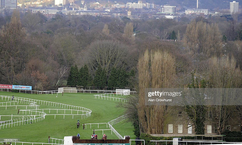 Runners take the 'Pond Fence' in The Betfred Masters Handicap Steeple Chase at Sandown racecourse on February 02, 2013 in Esher, England.