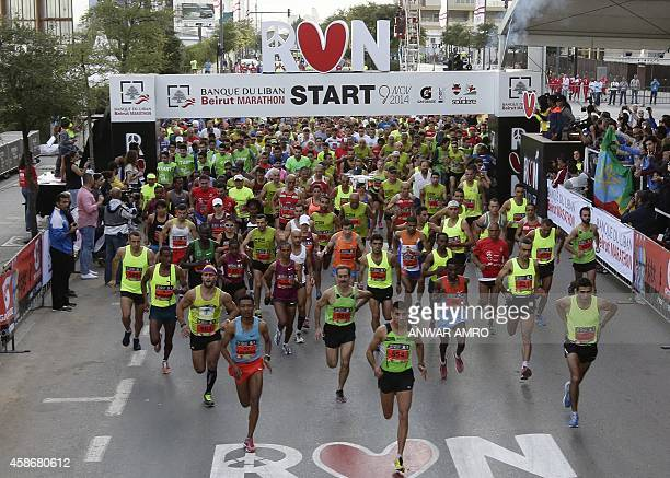Runners take the start of the 2014 Beirut Marathon on November 9 2014 in the Lebanese capital AFP PHOTO/ANWAR AMRO