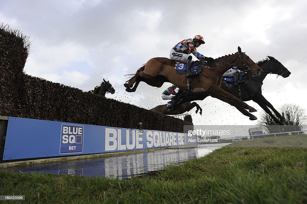 Runners take the water jump in The Elite Racing Club Novices' Limited Handicap Steeple Chase at Wincanton racecourse on January 31, 2013 in Wincanton, England.