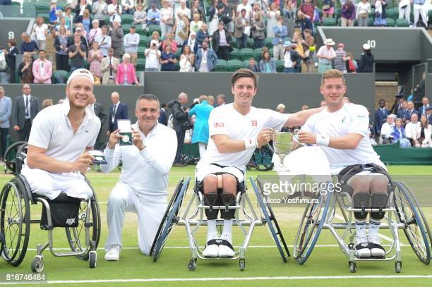 Runnersup Nicolas Peifer and Stephane Houdet of France and champions Gordon Reid and Alfie Hewett of Great Britain celebrate after the Gentlemen's...