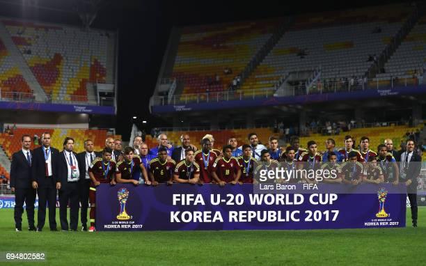 Runnersup Venezuela pose after the FIFA U20 World Cup Korea Republic 2017 Final between Venezuela and England at Suwon World Cup Stadium on June 11...