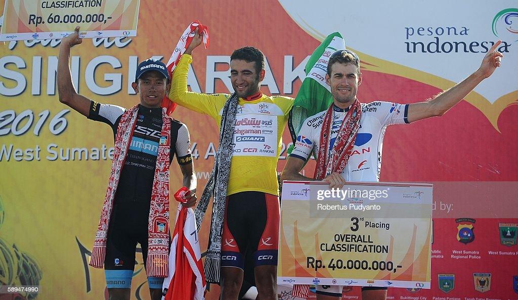 Runnerup Dadi Suryadi of Terengganu Cycling Team winner Amir Kolahdouz Hagh of Pishgaman Cycling Team Iran and third place Ricardo Garcia of Kinan...