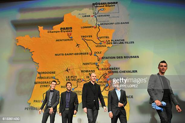 2016 runnerup France's Romain Bardet and title holder Britain's Chris Froome take part in the presentation of the official route of the 2017 edition...