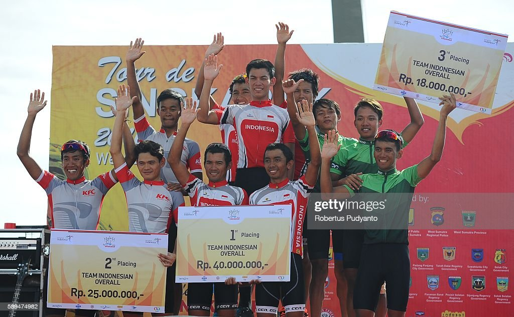 Runnerup KFC Cycling Team winner Indonesia National Team and third place BRCC Banyuwangi celebrate on the podium during Best Indonesian Team awarding...