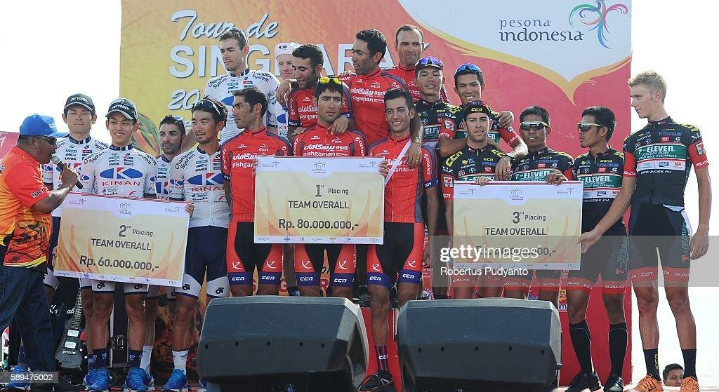 Runnerup Kinan Cycling Team winner Pishgaman Cycling Team Iran and third place 7 ElevenSava RBP Phillipines celebrate on the podium during awarding...
