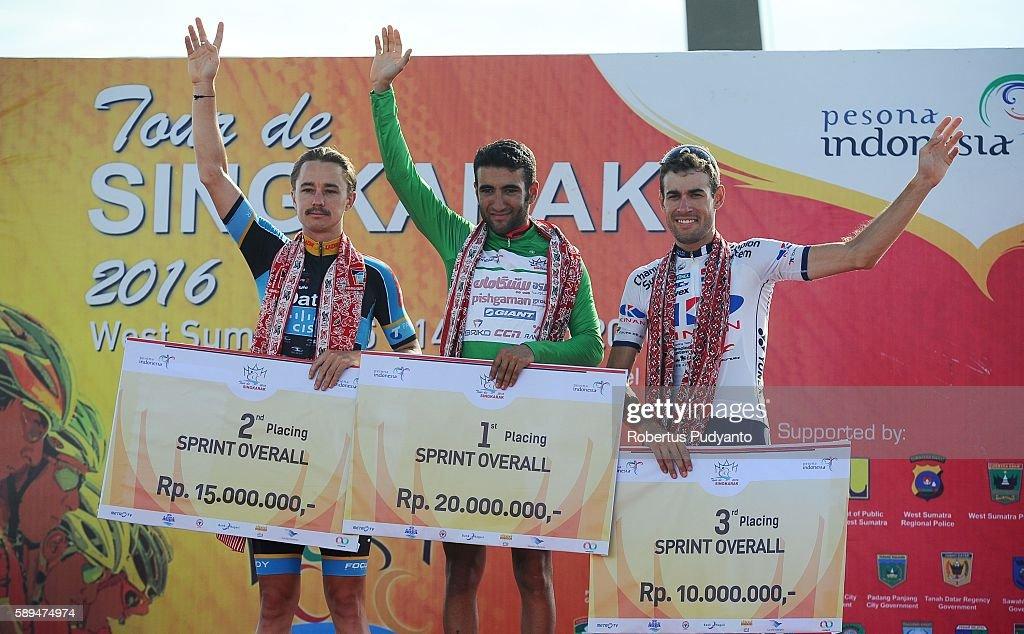 Runnerup Saxon Irvine of Data Cisco winner Amir Kolahdouz Hagh of Pishgaman Cycling Team Iran and third place Ricardo Garcia of Kinan Cycling Team...