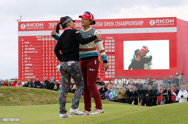 Runnerup South Korea's Ko JinYoung and Taiwan's Teresa Lu embrace on the 18th green after their final rounds on day four of the Women's British Open...