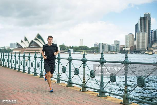 Running along Sydney harbour front