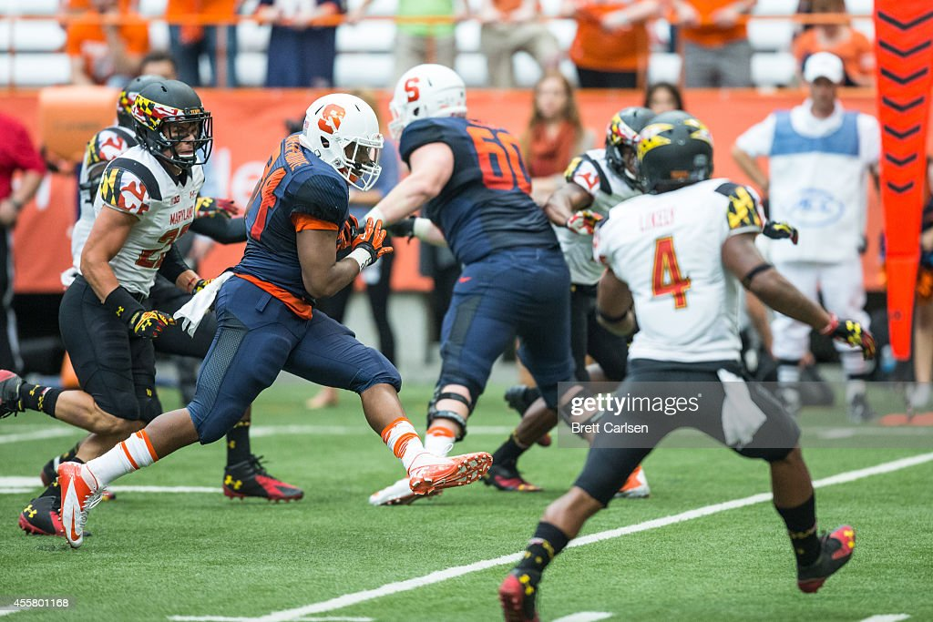 Running back Adonis Ameen-Moore #34 of the Syracuse Orange runs the ball against the Maryland Terrapins during the fourth quarter on September 20, 2014 at The Carrier Dome in Syracuse, New York. Maryland defeats Syracuse 34-20.