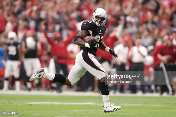 Running back Adrian Peterson of the Arizona Cardinals rushes the football on a 27 yard touchdown against the Tampa Bay Buccaneers during the first...