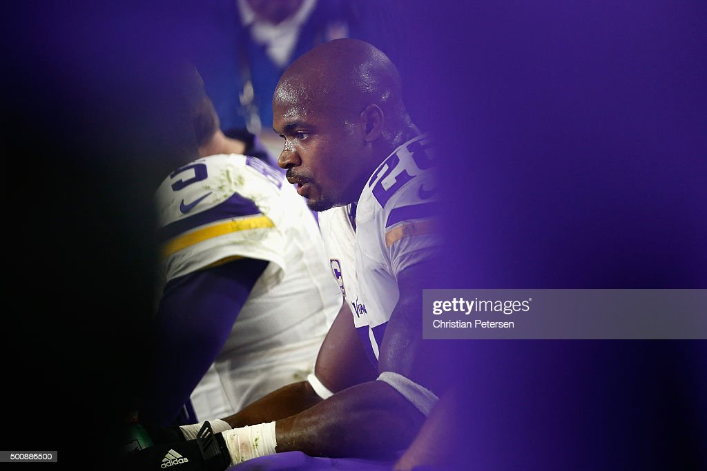 Running back <a gi-track='captionPersonalityLinkClicked' href=/galleries/search?phrase=Adrian+Peterson+-+American+Football+Player+-+Minnesota+Vikings&family=editorial&specificpeople=210807 ng-click='$event.stopPropagation()'>Adrian Peterson</a> #28 of the Minnesota Vikings sits on the bench during the fourth quarter of the NFL game against the Arizona Cardinals at the University of Phoenix Stadium on December 10, 2015 in Glendale, Arizona. The Cardinals defeated the Vikings 23-20.