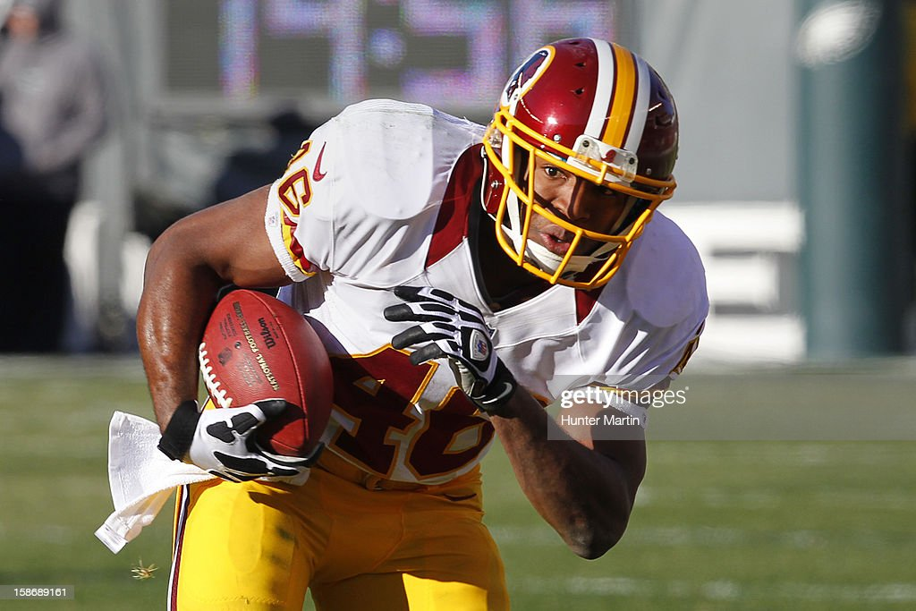 Running back <a gi-track='captionPersonalityLinkClicked' href=/galleries/search?phrase=Alfred+Morris&family=editorial&specificpeople=6350964 ng-click='$event.stopPropagation()'>Alfred Morris</a> #46 of the Washington Redskins runs with the ball during a game against the Philadelphia Eagles on December 23, 2012 at Lincoln Financial Field in Philadelphia, Pennsylvania. The Redskins won 27-20.