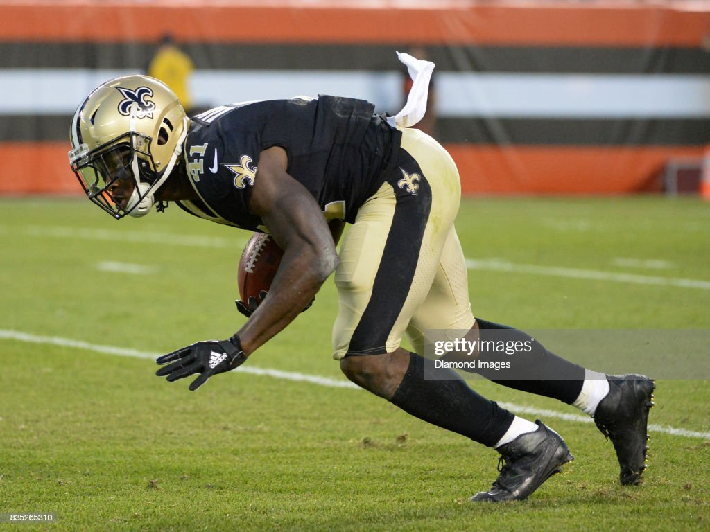 Running back Alvin Kamara #41 of the New Orleans Saints returns a punt in the first quarter of a preseason game on August 10, 2017 against the Cleveland Browns at FirstEnergy Stadium in Cleveland, Ohio. Cleveland won 20-14.