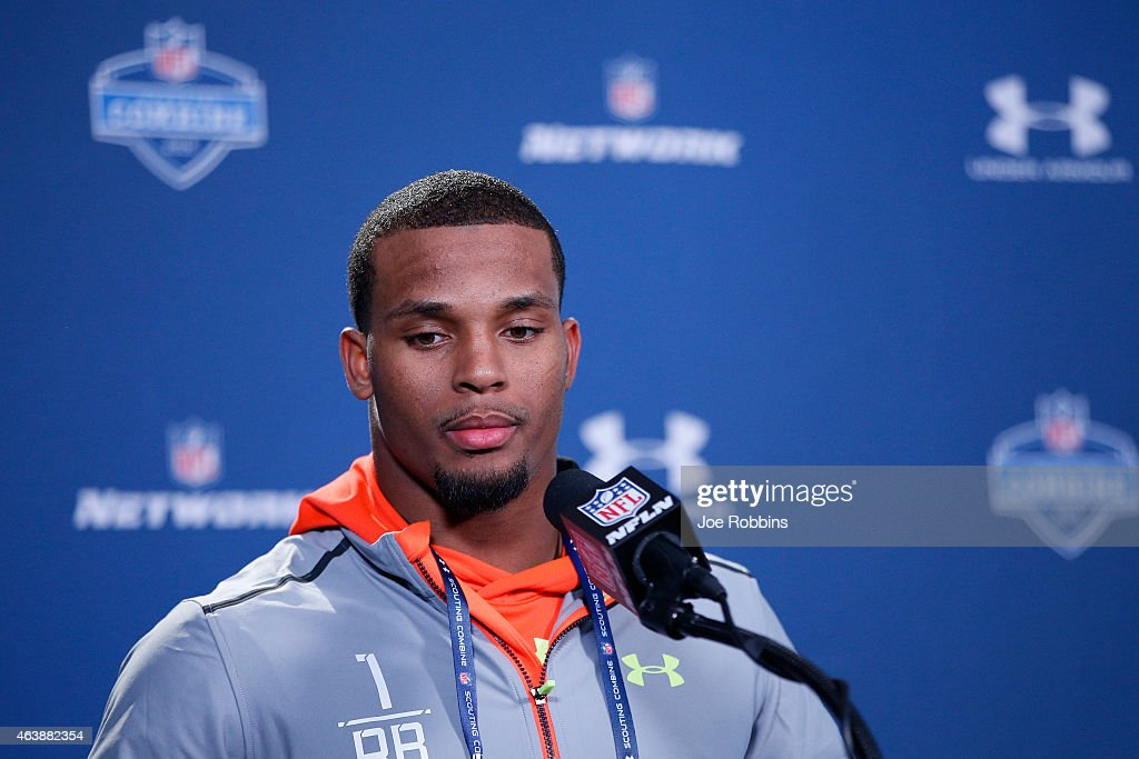 Running back <a gi-track='captionPersonalityLinkClicked' href=/galleries/search?phrase=Ameer+Abdullah&family=editorial&specificpeople=8199967 ng-click='$event.stopPropagation()'>Ameer Abdullah</a> of Nebraska speaks to the media during the 2015 NFL Scouting Combine at Lucas Oil Stadium on February 19, 2015 in Indianapolis, Indiana.