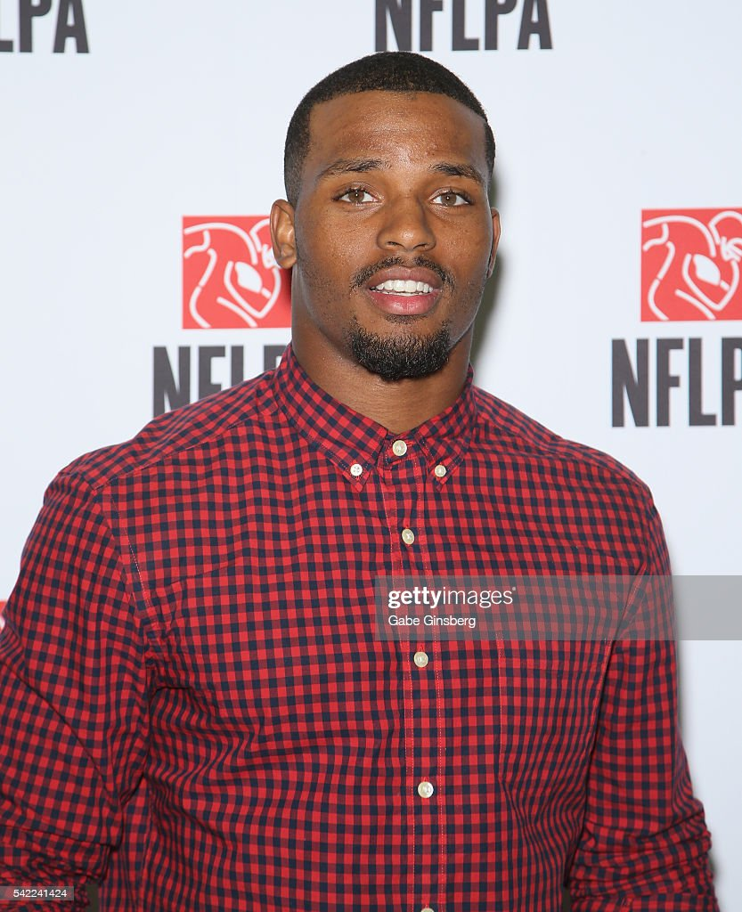 Running back <a gi-track='captionPersonalityLinkClicked' href=/galleries/search?phrase=Ameer+Abdullah&family=editorial&specificpeople=8199967 ng-click='$event.stopPropagation()'>Ameer Abdullah</a> of the Detroit Lions poses at the NFLPA Sports Activation Zone during the Licensing Expo 2016 at the Mandalay Bay Convention Center on June 22, 2016 in Las Vegas, Nevada.