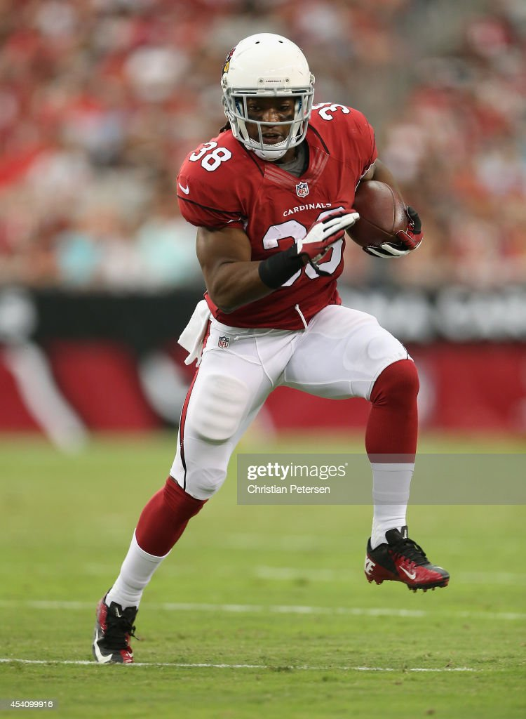 Running back <a gi-track='captionPersonalityLinkClicked' href=/galleries/search?phrase=Andre+Ellington&family=editorial&specificpeople=5519153 ng-click='$event.stopPropagation()'>Andre Ellington</a> #38 of the Arizona Cardinals breaks up field during the preseason NFL game against the Cincinnati Bengals at the University of Phoenix Stadium on August 24, 2014 in Glendale, Arizona.