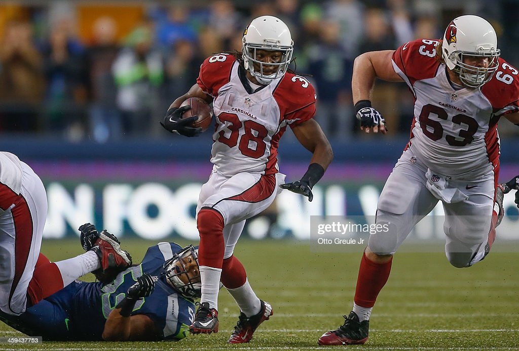 Running back <a gi-track='captionPersonalityLinkClicked' href=/galleries/search?phrase=Andre+Ellington&family=editorial&specificpeople=5519153 ng-click='$event.stopPropagation()'>Andre Ellington</a> #38 of the Arizona Cardinals rushes against the Seattle Seahawks at CenturyLink Field on December 22, 2013 in Seattle, Washington.