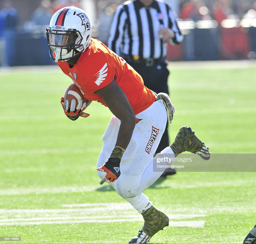 Running back Anthon Samuel of the Bowling Green Falcons runs the football during a game with the Kent State Golden Flashes at Dolt L Perry Stadium in...