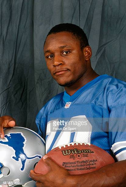 Running back Barry Sanders of the Detroit Lions poses for this portrait circa 1989 Sanders played for the Lions from 198998