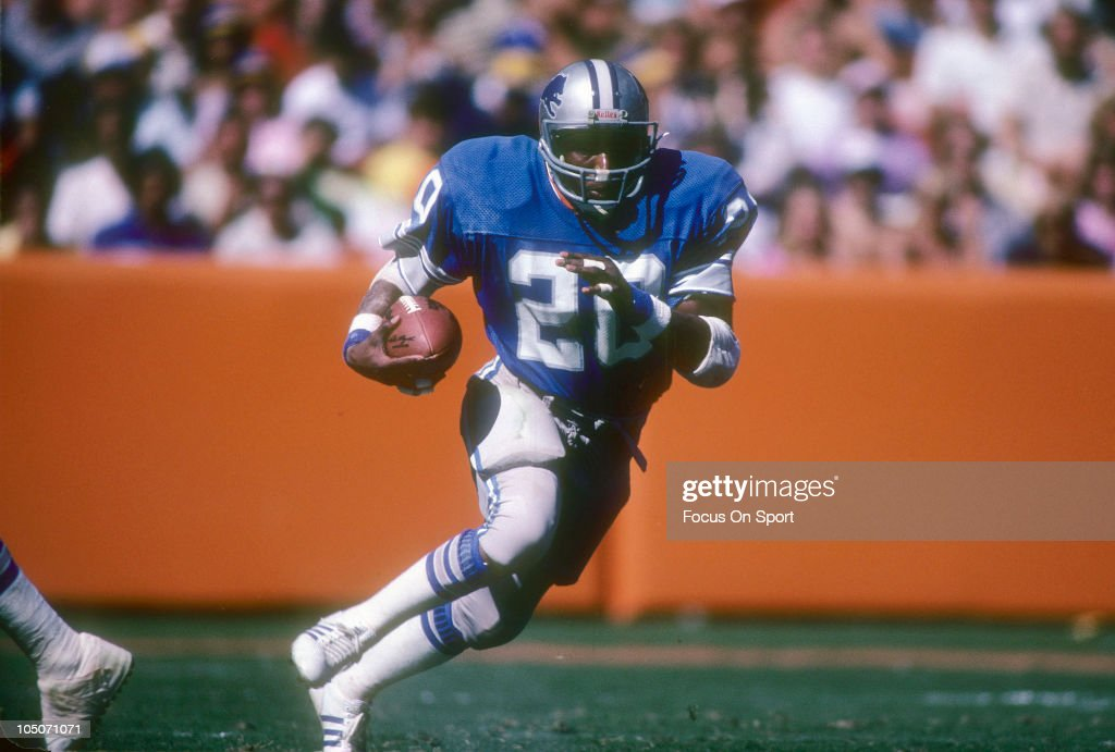 Running Back <a gi-track='captionPersonalityLinkClicked' href=/galleries/search?phrase=Billy+Sims&family=editorial&specificpeople=541482 ng-click='$event.stopPropagation()'>Billy Sims</a> #20 of the Detroit Lions carries the ball against the Los Angeles Rams during an NFL football game at Anaheim Stadium September 19, 1982 in Anaheim, California. Sims played for the Lions from 1980-84.