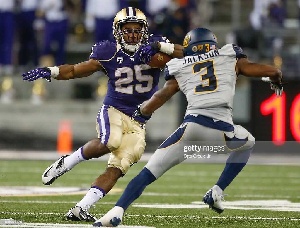 Running back <a gi-track='captionPersonalityLinkClicked' href=/galleries/search?phrase=Bishop+Sankey&family=editorial&specificpeople=8281516 ng-click='$event.stopPropagation()'>Bishop Sankey</a> #25 of the Washington Huskies rushes against cornerback Kameron Jackson #3 of the California Golden Bears on October 26, 2013 at Husky Stadium in Seattle, Washington. The Huskies defeated the Bears 41-17.