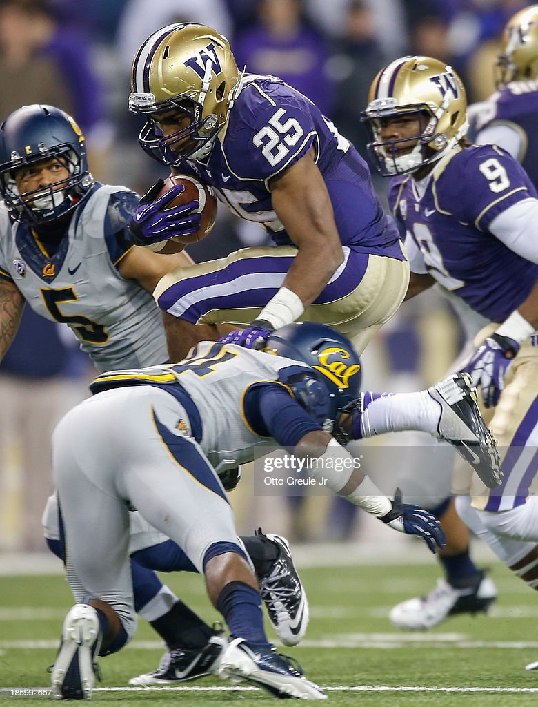 Running back <a gi-track='captionPersonalityLinkClicked' href=/galleries/search?phrase=Bishop+Sankey&family=editorial&specificpeople=8281516 ng-click='$event.stopPropagation()'>Bishop Sankey</a> #25 of the Washington Huskies rushes against cornerback Cameron Walker #14 of the California Golden Bears on October 26, 2013 at Husky Stadium in Seattle, Washington. The Huskies defeated the Bears 41-17.