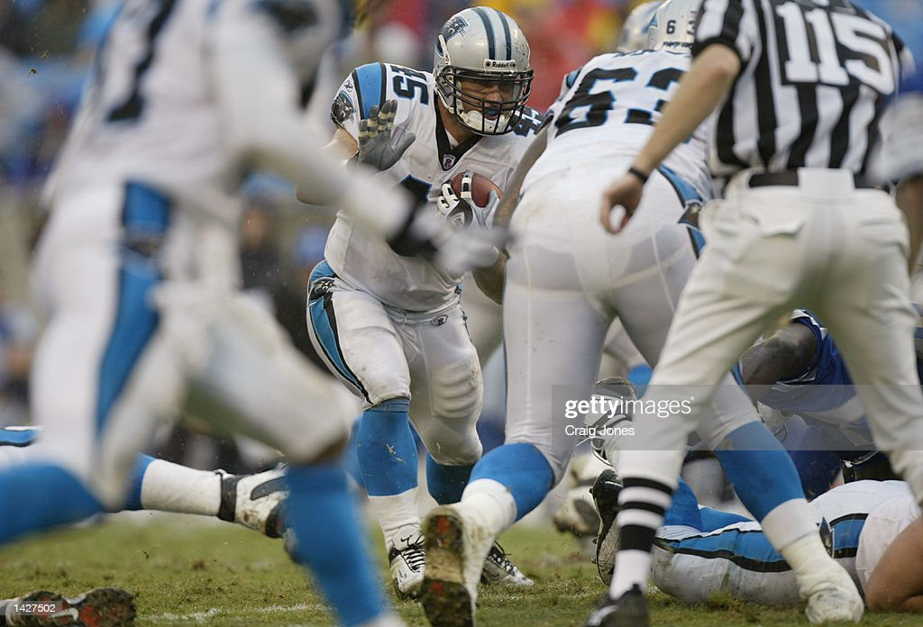 Running back Brad Hoover #45 of the Carolina Panthers runs with the ball during the NFL game against the Detroit Lions at Ericsson Stadium on September 15, 2002 in Charlotte, North Carolina. The Panthers won 31-7.