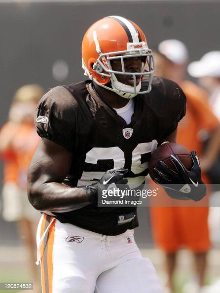 Running back Brandon Jackson of the Cleveland Browns carries the ball during a preseason practice on August 6 2011 at the Cleveland Browns Stadium in...