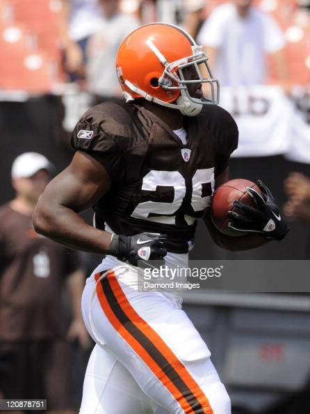 Running back Brandon Jackson of the Cleveland Browns carries the ball during a preseason Family Day practice on August 6 2011 at the Cleveland Browns...