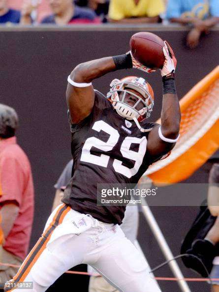 Running back Brandon Jackson of the Cleveland Browns catches a pass prior to a preseason game against the Green Bay Packers on August 13 2011 at...