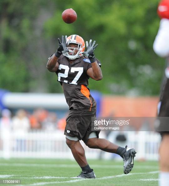 Running back Brandon Jackson of the Cleveland Browns catches a swing pass during practice at the Cleveland Browns Headquarters in Berea Ohio on July...