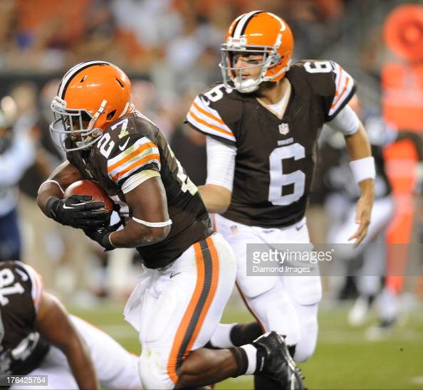 Running back Brandon Jackson of the Cleveland Browns runs the football after a hand off from quarterback Brian Hoyer during a game against the St...