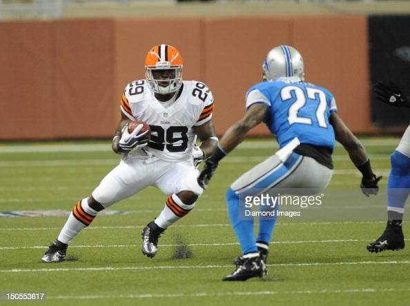 Running back Brandon Jackson of the Cleveland Browns runs the ball during a game with the Detroit Lions at Ford Field in Detroit Michigan The Browns...