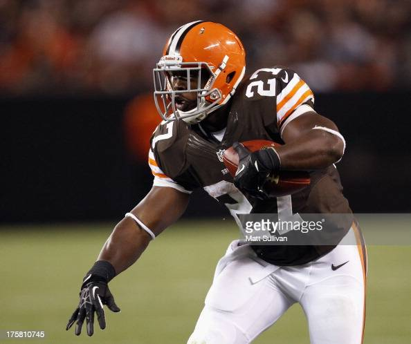 Running back Brandon Jackson of the Cleveland Browns runs the ball against the St Louis Rams at FirstEnergy Stadium on August 8 2013 in Cleveland Ohio