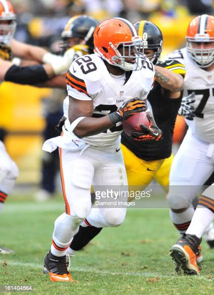 PITTSBURGH PENNSYLVANIA DECEMBER 30 2012 Running back Brandon Jackson of the Cleveland Browns runs the football during a game against the Pittsburgh...
