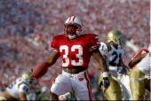 Running back Brent Moss of the Wisconsin Badgers scores a touchdown during the Rose Bowl against the UCLA Bruins at the Rose Bowl in Pasadena...
