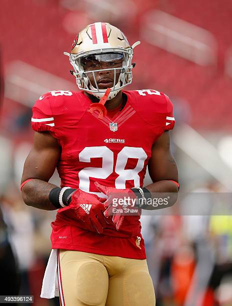 Running back Carlos Hyde of the San Francisco 49ers warms up before their game against the Baltimore Ravens at Levi's Stadium on October 18 2015 in...