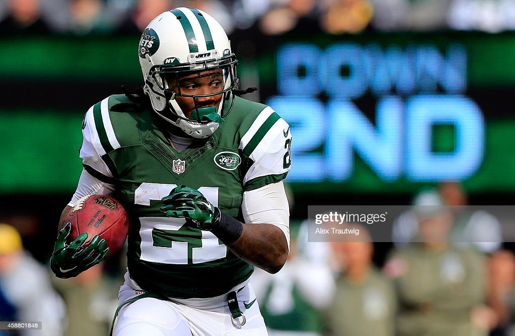 Running back Chris Johnson of the New York Jets carries the ball against the Pittsburgh Steelers during a game at MetLife Stadium on November 9 2014...